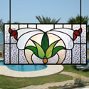 Abstract Flower Stained Glass Panel