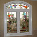 Bathroom Floral Stained Glass