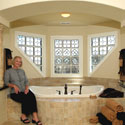 Bathroom Stained Glass Partitioned Windows