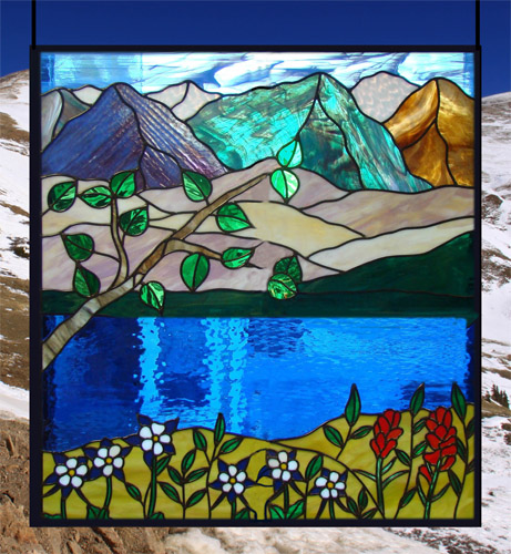Stained glass panels sandcarved etched flashed glass panel prairie stained glass mountain - Amazing stained glass fireplace screen designs with intriguing patterns ...