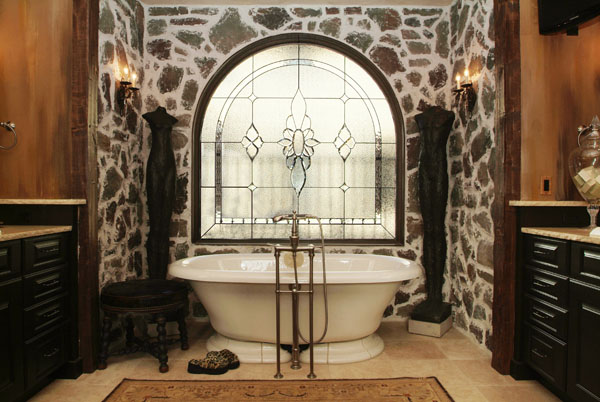 Exceptional Privacy Bathroom Stained Glass Windows   BSG 3